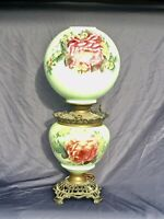Antique Victorian GWTW Parlor Lamp Artist Signed Ball Shade 'Pilabrasgo'