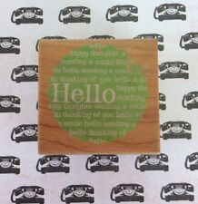 Hello Scalloped Tag Wood Mount Rubber Stamp Sending Smile Thinking Of You Saying