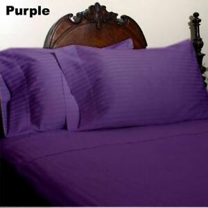 Purple Striped Queen Size 4 Pc Sheet Set 1000 Thread Count 100% Egyptian Cotton
