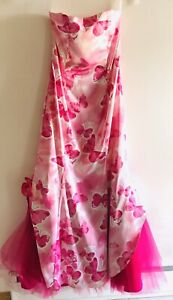 Vintage Jessica McClintock For Gunne Sax Pink formal Strapless Evening Gown