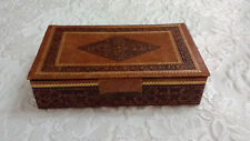 """Vintage Leather Hand Made in Italy Trinket Jewellery Box 23cm 9"""""""