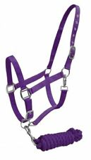 Full Horse Size 2 Ply Adjustable Nylon Halter with 7' Cotton Lead Rope