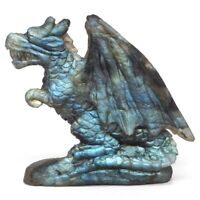 "3"" Wing Dragon Figurine Natural Gemstone Labradorite Crystal Carved Home Decor"
