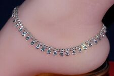 CZWS - Bollywood Designer CZ Silver Tone Indian Anklets Payal - 1 Pair ( 2 Pcs )
