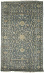 Muted Slate Floral Style Transitional 3X5 Oriental Rug Home Decor Wool Carpet