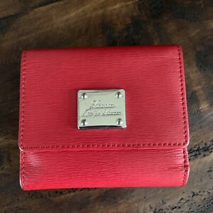 Ralph Lauren Red Tri-fold Snap Wallet And Coin Purse