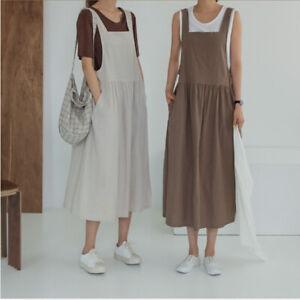 New Women's Maxi Dress Loose Cotton Linen Summer Comfort Jumper Long Skirt
