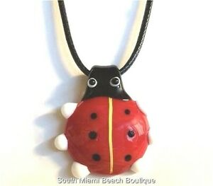 Murano Glass Ladybug Pendant Necklace Black Cord Red Black Lady Bug Insect