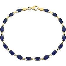 "14 k yellow gold lab grown sapphire bracelet 7.25"""