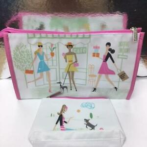 New Clinique Cosmetic Bag Travel Zip Top Bloomingdale's Cafe Flower Beach Park
