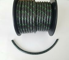 7mm COPPER CORE BRAIDED CLOTH Black with Green tracers SPARK PLUG WIRE DIY foot