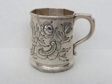 New listing American Coin Silver Repousse Floral Mug Gerardus Boyce New York 1814-1857