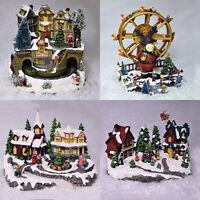 Miniature Christmas Village Nativity Scene Ornaments Musical LED Xmas decoration