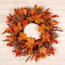 45/60CM Halloween Decor Fall Door Pumpkin Wreath Autumn Color Maple Leaf Garland