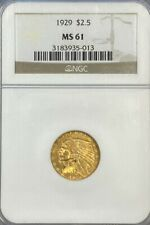 NGC MS61 1929 $2.5 Indian Head Gold Coin.! BU.!