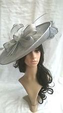 Silver Grey metallic Sinamay Hatinator.hat.Large saucer disc Wedding.races.
