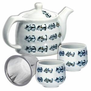 3 PCS. Tea Pot Set w/Tea Strainer Porcelain NARABI NEKO Cat Design/Made in Japan