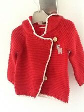 NWT Next knitted little red riding hood Baby girls cardigan reindeer sz9-12m