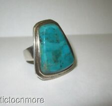 DESIGNER BARSE TURQUOISE STONE & STERLING SILVER TRAPEZOID RING