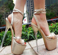 UK Women Super High Heels Platform Open Toe Sexy Sandals Ankle Strap Shoes Party
