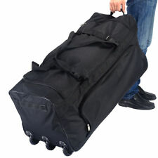 Large Black Rolling Wheels Duffle Tote Bag Luggage Travel Suitcase Handle Strap