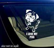 "I love my Pug Decal Sticker white Car Window Bumper I Love My Rescue Dog 3.5""x6"""