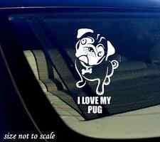 "I love my Pug Decal Sticker white Car Window Bumper I Love My Rescue Dog 3.5""x6"""