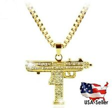 New Gold Tone Iced Out UZI Machine Gun Stainless Steel Revolver Necklace Chain