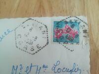 Timbre sur carte Semeuse Piel Roty CACHET altiani 1951