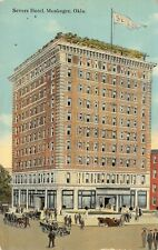 Muskogee Oklahoma~Severs Hotel~Horse Carriage & Cars~Artist Conception~1911 PC