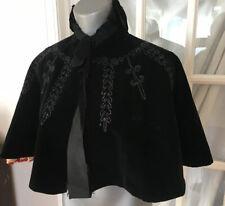 True Antique Victorian Cape cloak Beaded Black Velvet hand sewn