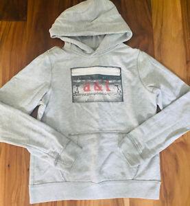 ABERCROMBIE KIDS BOYS Pullover Hoodie Sweatshirt Sz L Gray Football Graphic Logo