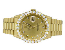 18K Mens Yellow Gold Rolex President Day-Date 36MM Champagne Diamond Watch 5.5Ct