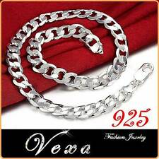 New Mens 925 Sterling Silver 10mm Necklace Curb Solid Link Chain 20'' UK NS04