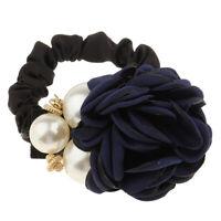 ChouChou à Cheveux Motif de Rose Perles Bande Elastique pr Femme Fille