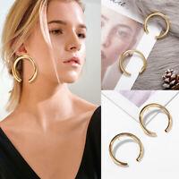 Fashion Gold Plated Women Metal Big Circle Hoop Dangle Drop Ear Stud Earrings