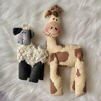 handmade Rag Style stuffed animals Lot Of 2 One Giraffe And One Sheep