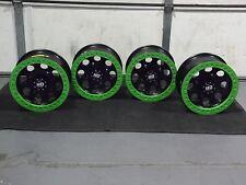 "14"" POLARIS BLACK BEADLOCK GREEN RINGS ATV WHEELS NEW SET 4 - POL3CA"