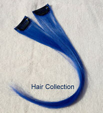 "18""Blue-100% Human Hair Clip on in Extensions(2pcs)"