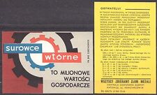 POLAND 1971 Matchbox Label - Cat.G#218+236 The panel Recyclable Materials ..