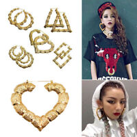 Gold Rock Hip-Hop Style Big Bamboo Hollow Earrings Hoop Circle Women Jewelry Hot