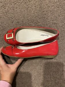 Sandler Red Patent Leather Plaza Flats Size 7