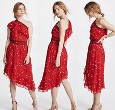 JOIE One Shoulder Hafsa Silk Matador Red Floral Dress Size S  $398.00