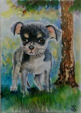 Hand Painted Original Watercolor ACEO STRAY DOG Little Puppy Pet Signed by JV