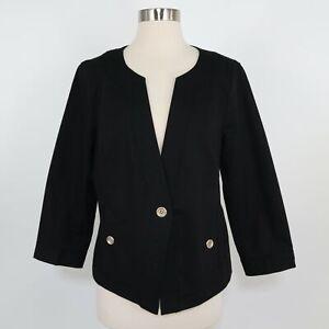 Talbots Blazer Jacket Womens 12 The Grace Fit V-Neck Gold Buttons Black Career
