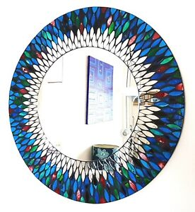 Round blue & red peacock design mosaic wall mirror 60cm-hand made in Bali-NEW