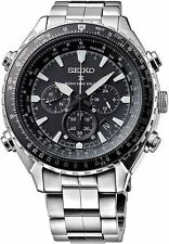 New Seiko Prospex Radio Sync Solar Chronograph Stainless Steel Mens Watch SSG001