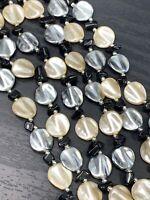 "Vintage Imitation pearl beaded Grey Cream Black  Extra long necklace 66"""