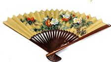 "SET OF 2 HUGE VINTAGE CHINESE PEACOCK AND FLORAL ON GOLD PAPER FANS 30"" & 20"""