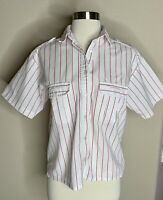 Idioms Vintage Retro women's Pink White Striped 1980's 80'S short top shirt S